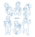 collection of infant children or babies dressed in vector image vector image