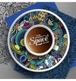 Cup of coffee and hand drawn space doodle vector image vector image
