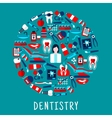 Dentist with dentistry icons round symbol vector image vector image