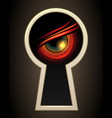 evil eye looking through a keyhole vector image