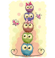 five cute owls on a yellow background vector image vector image