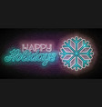glow greeting card with freeze snowflake vector image