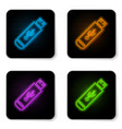 glowing neon usb flash drive icon isolated on vector image vector image