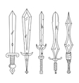 hand drown set swords isolated vector image