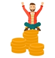 Happy businessman sitting on coins vector image vector image