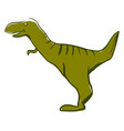 happy green dinosaur on white background vector image vector image
