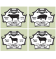 icons on vintage background pig cow sheep goat vector image vector image