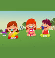 kids eating ice cream in a park vector image