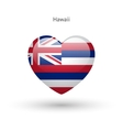Love Hawaii state symbol Heart flag icon vector image vector image