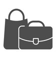 luggage solid icon bags vector image
