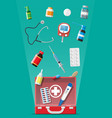 medical first aid kit with different pills devices vector image vector image