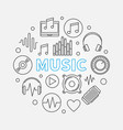 music round made with outline vector image vector image