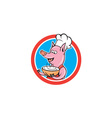Pig Chef Cook Holding Bowl Circle Cartoon vector image vector image