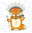 print of a cartoon indian fox vector image vector image