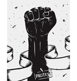 Protest background raised fist held in protest vector image vector image