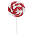 red white lollipop icon realistic style vector image vector image