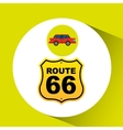 route 66 road sign sedan red vector image