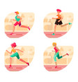 running people set silhouettes sport and vector image vector image