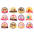 set logos with various sweets vector image vector image
