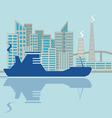 Silhouette of ship on city background vector image vector image