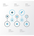 user icons colored set with power on protect vector image