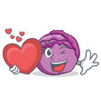 with heart red cabbage mascot cartoon vector image vector image