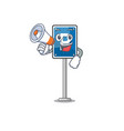 with megaphone parking sign on a cartoon roadside vector image vector image