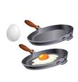 Scrambled eggs in pan cooking breakfast vector image