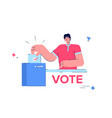 a man votes at a polling station a young man vector image