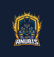 anubis esport gaming mascot logo template for vector image