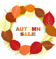 Autumn sale with frame of leaves vector image