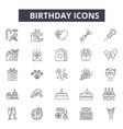 birthday line icons for web and mobile design vector image