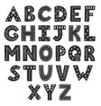 black and white alphabet in scandinavian style vector image vector image