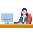 business woman sit on desk and working on computer vector image