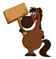 cartoon horse holding blank sign vector image