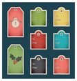 Colorful winter holiday gift tags vector image