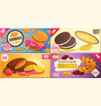 cookies with various fillings flat banner vector image