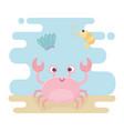 crab and squid life cartoon under sea vector image