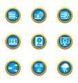 data way icons set flat style vector image