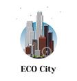 Eco city architecture skyline logo design vector image