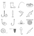 Fishing tools items icons set outline style vector image
