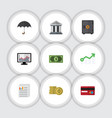 flat icon finance set of greenback payment vector image vector image