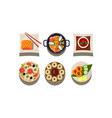 flat set of plates with tasty dishes top vector image