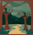 forest landscape cartoon vector image