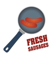 Fresh and delicious sausages bbq designs vector image