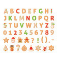 gingerbread alphabet merry christmas and happy vector image
