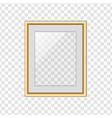 golden picture or photo frame with glass isolated vector image