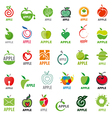great collection logos apples vector image vector image