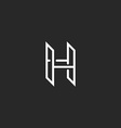 H logo monogram letter mockup design element for