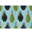 Hand grenade seamless pattern Military munition vector image vector image